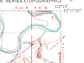 Reduced fragment of topographic map en--usgs--024k--021734--(1950)--N043-37-30_W102-22-30--N043-30-00_W102-15-00