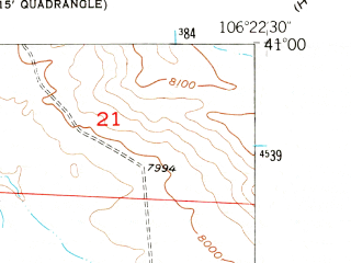 Reduced fragment of topographic map en--usgs--024k--021774--(1955)--N041-00-00_W106-30-00--N040-52-30_W106-22-30