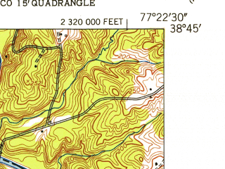 Reduced fragment of topographic map en--usgs--024k--021781--(1951)--N038-45-00_W077-30-00--N038-37-30_W077-22-30; towns and cities Manassas