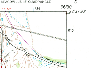 Reduced fragment of topographic map en--usgs--024k--021784--(1959)--N032-37-30_W096-37-30--N032-30-00_W096-30-00; towns and cities Combine