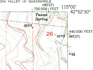 Reduced fragment of topographic map en--usgs--024k--021792--(1949)--N042-52-30_W115-07-30--N042-45-00_W115-00-00