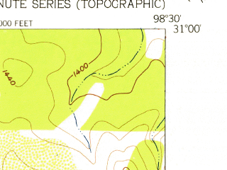 Reduced fragment of topographic map en--usgs--024k--021833--(1956)--N031-00-00_W098-37-30--N030-52-30_W098-30-00