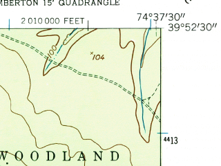 Reduced fragment of topographic map en--usgs--024k--021847--(1957)--N039-52-30_W074-45-00--N039-45-00_W074-37-30
