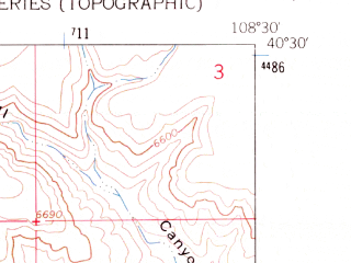 Reduced fragment of topographic map en--usgs--024k--021890--(1962)--N040-30-00_W108-37-30--N040-22-30_W108-30-00