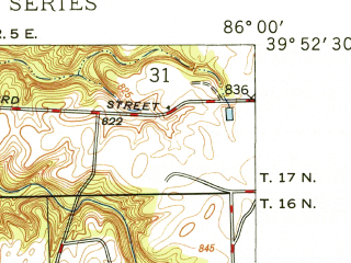 Reduced fragment of topographic map en--usgs--024k--021895--(1948)--N039-52-30_W086-07-30--N039-45-00_W086-00-00; towns and cities Warren Park