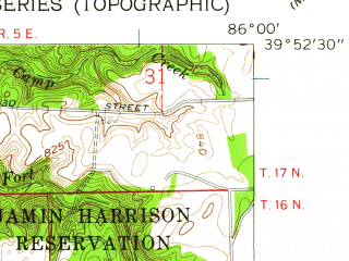 Reduced fragment of topographic map en--usgs--024k--021895--(1959)--N039-52-30_W086-07-30--N039-45-00_W086-00-00; towns and cities Warren Park