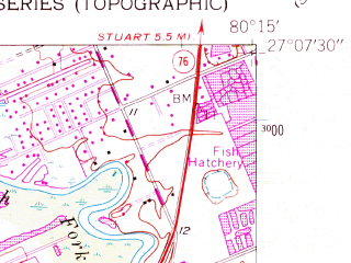 Reduced fragment of topographic map en--usgs--024k--021906--(1953)--N027-07-30_W080-22-30--N027-00-00_W080-15-00