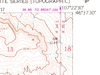 Reduced fragment of topographic map en--usgs--024k--021935--(1960)--N046-37-30_W107-30-00--N046-30-00_W107-22-30