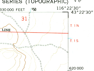 Reduced fragment of topographic map en--usgs--024k--021942--(1957)--N043-22-30_W116-30-00--N043-15-00_W116-22-30