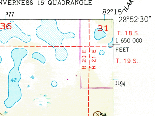 Reduced fragment of topographic map en--usgs--024k--021972--(1954)--N028-52-30_W082-22-30--N028-45-00_W082-15-00; towns and cities Inverness
