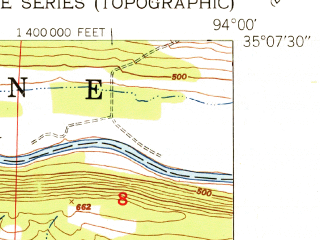 Reduced fragment of topographic map en--usgs--024k--021988--(1951)--N035-07-30_W094-07-30--N035-00-00_W094-00-00