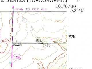 Reduced fragment of topographic map en--usgs--024k--022013--(1951)--N032-45-00_W101-15-00--N032-37-30_W101-07-30