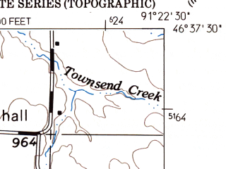 Reduced fragment of topographic map en--usgs--024k--022055--(1961)--N046-37-30_W091-30-00--N046-30-00_W091-22-30