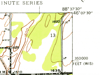 Reduced fragment of topographic map en--usgs--024k--022082--(1944)--N046-07-30_W088-45-00--N046-00-00_W088-37-30; towns and cities Caspian, Iron River, Mineral Hills