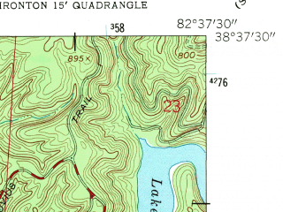 Reduced fragment of topographic map en--usgs--024k--022098--(1961)--N038-37-30_W082-45-00--N038-30-00_W082-37-30; towns and cities Ironton, Flatwoods, Raceland, Russell, Worthington