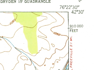 Reduced fragment of topographic map en--usgs--024k--022187--(1951)--N042-30-00_W076-30-00--N042-22-30_W076-22-30; towns and cities South Hill, East Ithaca, Forest Home, Lansing