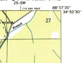 Reduced fragment of topographic map en--usgs--024k--022191--(1935)--N034-52-30_W088-15-00--N034-45-00_W088-07-30; towns and cities Iuka