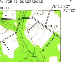 Reduced fragment of topographic map en--usgs--024k--022207--(1944)--N037-00-00_W077-00-00--N036-52-30_W076-52-30; towns and cities Ivor, Wakefield