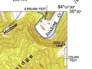 Reduced fragment of topographic map en--usgs--024k--022209--(1946)--N036-30-00_W084-15-00--N036-22-30_W084-07-30