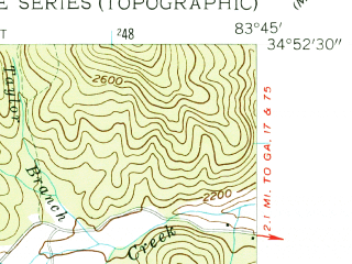 Reduced fragment of topographic map en--usgs--024k--022261--(1957)--N034-52-30_W083-52-30--N034-45-00_W083-45-00