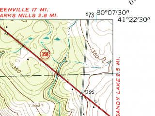 Reduced fragment of topographic map en--usgs--024k--022287--(1960)--N041-22-30_W080-15-00--N041-15-00_W080-07-30; towns and cities Jackson Center
