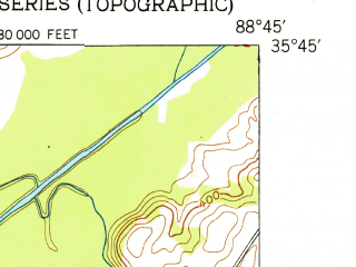 Reduced fragment of topographic map en--usgs--024k--022295--(1951)--N035-45-00_W088-52-30--N035-37-30_W088-45-00; towns and cities Jackson