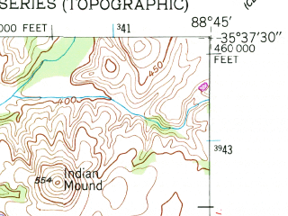 Reduced fragment of topographic map en--usgs--024k--022303--(1950)--N035-37-30_W088-52-30--N035-30-00_W088-45-00