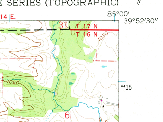 Reduced fragment of topographic map en--usgs--024k--022310--(1960)--N039-52-30_W085-07-30--N039-45-00_W085-00-00