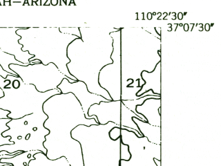 Reduced fragment of topographic map en--usgs--024k--022337--(1952)--N037-07-30_W110-30-00--N037-00-00_W110-22-30