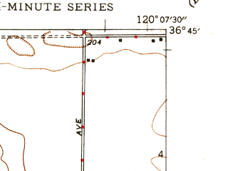 Reduced fragment of topographic map en--usgs--024k--022361--(1947)--N036-45-00_W120-15-00--N036-37-30_W120-07-30; towns and cities Tranquillity
