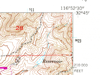 Reduced fragment of topographic map en--usgs--024k--022390--(1955)--N032-45-00_W117-00-00--N032-37-30_W116-52-30; towns and cities Spring Valley, Casa De Oro, Rancho San Diego, Jamul