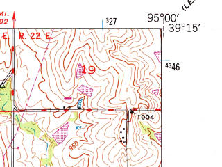 Reduced fragment of topographic map en--usgs--024k--022400--(1948)--N039-15-00_W095-07-30--N039-07-30_W095-00-00