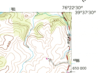 Reduced fragment of topographic map en--usgs--024k--022407--(1956)--N039-37-30_W076-30-00--N039-30-00_W076-22-30; towns and cities Fallston, Jarrettsville