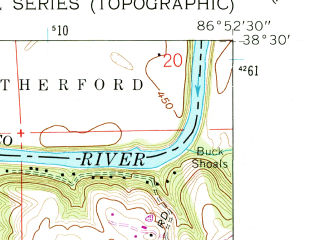 Reduced fragment of topographic map en--usgs--024k--022414--(1960)--N038-30-00_W087-00-00--N038-22-30_W086-52-30; towns and cities Jasper