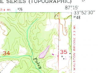 Reduced fragment of topographic map en--usgs--024k--022424--(1949)--N033-52-30_W087-22-30--N033-45-00_W087-15-00; towns and cities Jasper