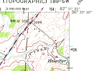 Reduced fragment of topographic map en--usgs--024k--022465--(1939)--N036-22-30_W082-45-00--N036-15-00_W082-37-30