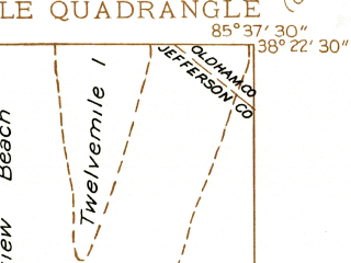 Reduced fragment of topographic map en--usgs--024k--022498--(1937)--N038-22-30_W085-45-00--N038-15-00_W085-37-30; towns and cities Jeffersonville, Oak Park, Glenview Manor, Rolling Fields, Indian Hills