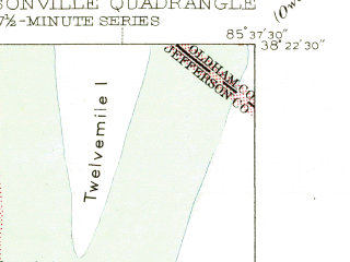 Reduced fragment of topographic map en--usgs--024k--022498--(1946)--N038-22-30_W085-45-00--N038-15-00_W085-37-30; towns and cities Jeffersonville, Oak Park, Indian Hills, Utica, Indian Hills Cherokee Section