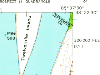 Reduced fragment of topographic map en--usgs--024k--022498--(1960)--N038-22-30_W085-45-00--N038-15-00_W085-37-30; towns and cities Jeffersonville, Oak Park, Mockingbird Valley, Cherrywood Village, Northfield