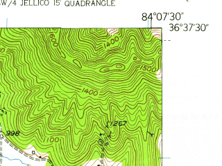 Reduced fragment of topographic map en--usgs--024k--022509--(1953)--N036-37-30_W084-15-00--N036-30-00_W084-07-30; towns and cities Jellico