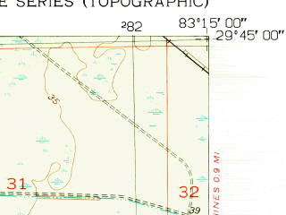 Reduced fragment of topographic map en--usgs--024k--022517--(1954)--N029-45-00_W083-22-30--N029-37-30_W083-15-00