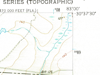 Reduced fragment of topographic map en--usgs--024k--022533--(1956)--N030-37-30_W083-07-30--N030-30-00_W083-00-00; towns and cities Jennings
