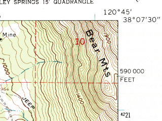 Reduced fragment of topographic map en--usgs--024k--022538--(1962)--N038-07-30_W120-52-30--N038-00-00_W120-45-00