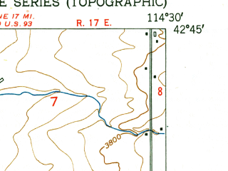 Reduced fragment of topographic map en--usgs--024k--022551--(1950)--N042-45-00_W114-37-30--N042-37-30_W114-30-00; towns and cities Jerome