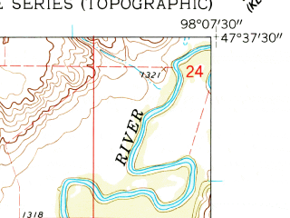 Reduced fragment of topographic map en--usgs--024k--022574--(1961)--N047-37-30_W098-15-00--N047-30-00_W098-07-30