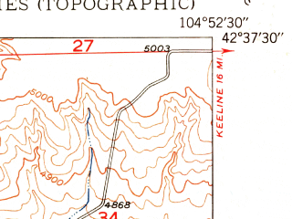 Reduced fragment of topographic map en--usgs--024k--022597--(1950)--N042-37-30_W105-00-00--N042-30-00_W104-52-30