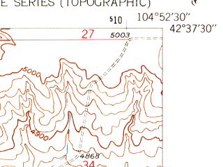 Reduced fragment of topographic map en--usgs--024k--022597--(1961)--N042-37-30_W105-00-00--N042-30-00_W104-52-30