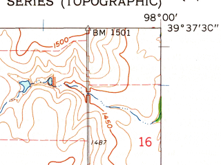 Reduced fragment of topographic map en--usgs--024k--022603--(1962)--N039-37-30_W098-07-30--N039-30-00_W098-00-00