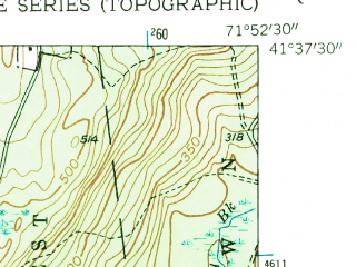 Reduced fragment of topographic map en--usgs--024k--022608--(1953)--N041-37-30_W072-00-00--N041-30-00_W071-52-30 in area of Pachaug Pond; towns and cities Jewett City