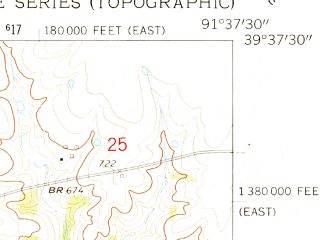 Reduced fragment of topographic map en--usgs--024k--022633--(1959)--N039-37-30_W091-45-00--N039-30-00_W091-37-30